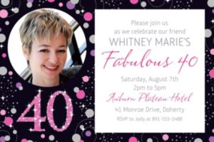 Custom Pink Sparkling Celebration 40 Photo Invitation
