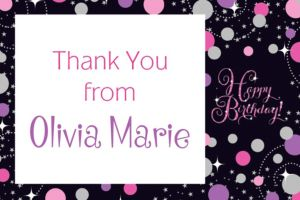 Custom Pink Sparkling Celebration Birthday Thank You Note