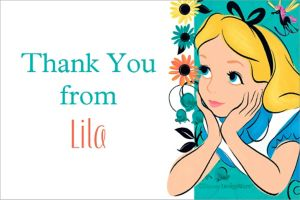 Custom Alice in Wonderland Thank You Note