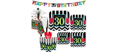 Celebrate 30th Birthday Party Kit for 32 Guests