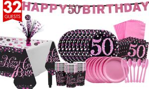 Pink Sparkling Celebration 50th Birthday Party Kit for 32 Guests