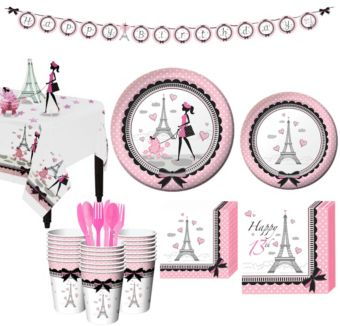 Pink Paris 16th Birthday Party Kit for 32 Guests