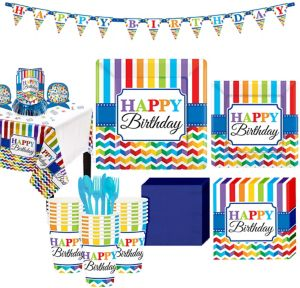 Rainbow Chevron Birthday Party Kit for 32 Guests