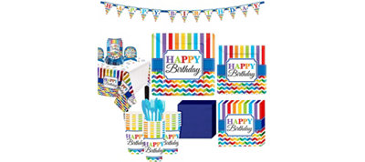 Bright Chevron Birthday Party Kit for 32 Guests