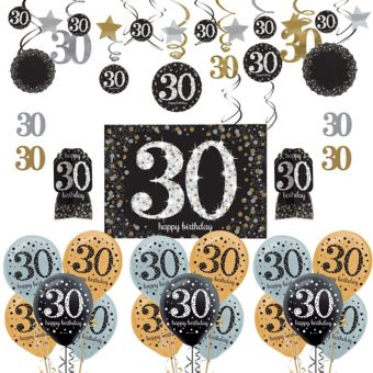 Sparkling Celebration 30th Birthday Decorating Kit with Balloons