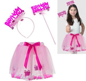 Child Pink Birthday Princess Accessory Kit 3pc