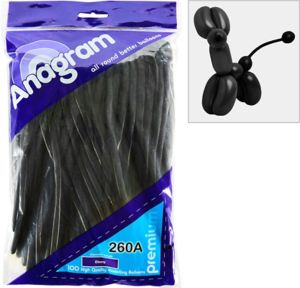 Long Black Twisting Balloons 100ct