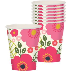 Coral Floral Cups 8ct