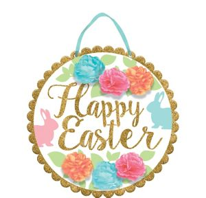 Glitter Scalloped Happy Easter Sign