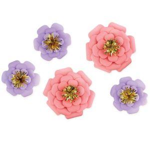Pink & Purple Paper Flower Decorations 5ct