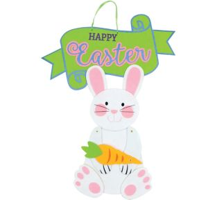 Jointed Felt Happy Easter Bunny Sign