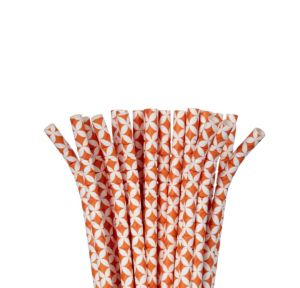 Orange Diamond Paper Straws 24ct