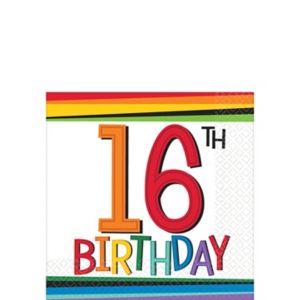 Rainbow 16th Birthday Beverage Napkins 16ct