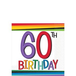 Rainbow 60th Birthday Beverage Napkins 16ct