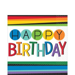 Rainbow Happy Birthday Lunch Napkins 16ct