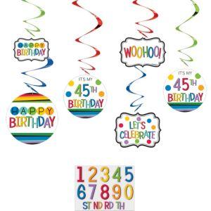 Rainbow Happy Birthday Swirl Decorations Kit