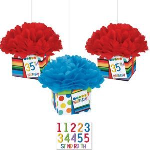 Rainbow Happy Birthday Fluffy Decorations Kit