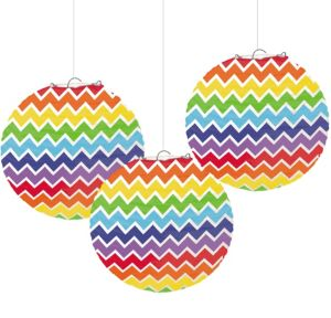 Rainbow Chevron Paper Lanterns 3ct