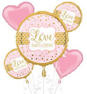 Sparkling Pink Wedding Balloon Bouquet 5pc