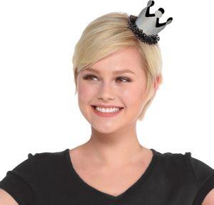 Black & Silver Mini Birthday Crown Hair Clip