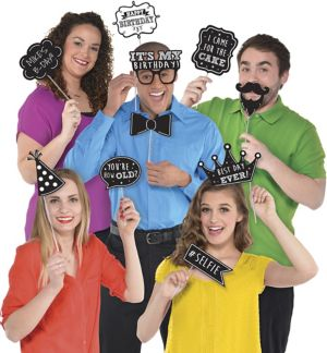 Chalkboard Birthday Photo Booth Props 13ct