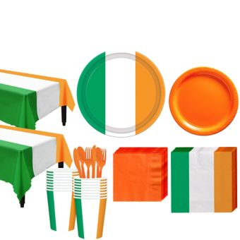 Green, White & Orange Tableware Kit for 16 Guests