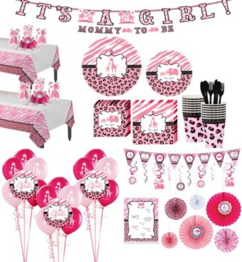 Pink Safari Premium Baby Shower Kit for 36 Guests
