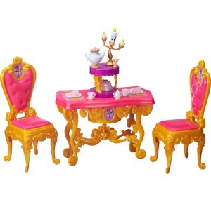 Be our guest dining room belle playset 16pc beauty and for Beauty and the beast table and chairs