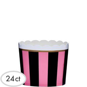 Pink & Black Scalloped Bowls 24ct