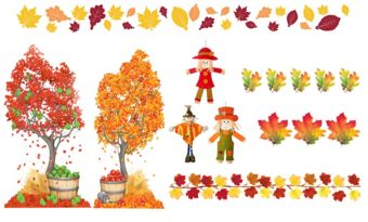 Fall Leaves & Scarecrow Classroom Decorating Kit