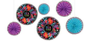 Mad Tea Party Paper Fan Decorations 6ct