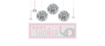 Pink Baby Elephant Decorations Kit