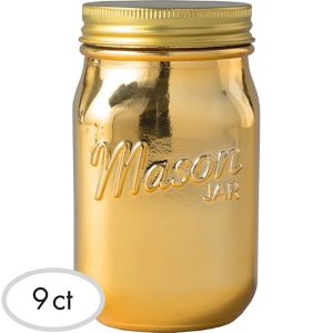 Gold Glass Mason Jars 6ct