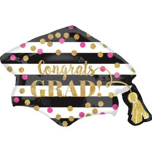 Giant Prismatic Confetti Grad Cap Graduation Balloon