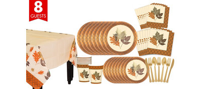 Copper Leaves Fall Tableware Kit for 8 Guests