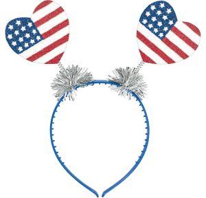 Glitter Patriotic Heart Head Bopper