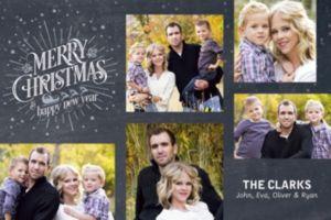 Custom Chalkboard Christmas Collage Photo Card