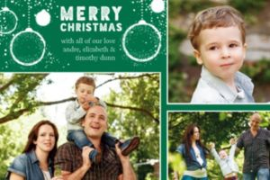 Custom Green Ornaments Christmas Collage Photo Card