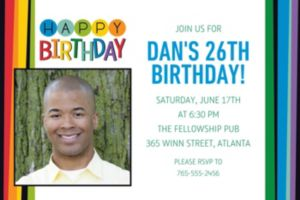 Custom Rainbow Happy Birthday Photo Invitation