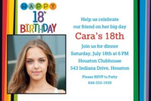 Custom Rainbow 18th Birthday Photo Invitation