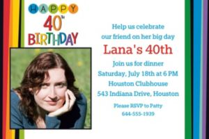 Custom Rainbow 40th Birthday Photo Invitation