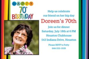 Custom Rainbow 70th Birthday Photo Invitation