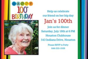 Custom Rainbow 100th Birthday Photo Invitation