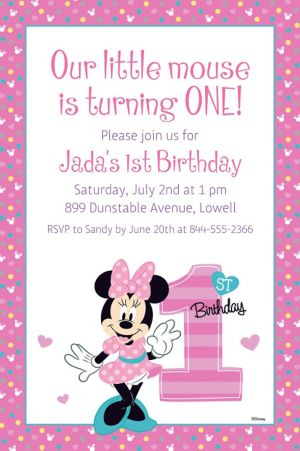 Custom Minnie's 1st Birthday Invitation