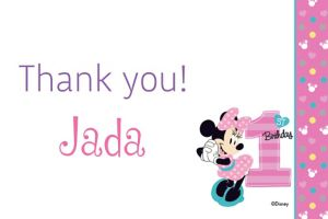 Custom Minnie's 1st Birthday Thank You Note