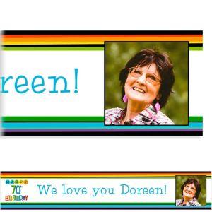 Custom Rainbow 70th Birthday Photo Banner