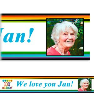 Custom Rainbow 100th Birthday Photo Banner