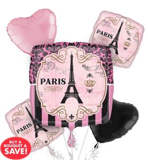 A Day in Paris Balloon Bouquet 5pc