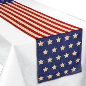 Patriotic American Flag Table Runner