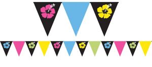Neon Hibiscus Pennant Banner